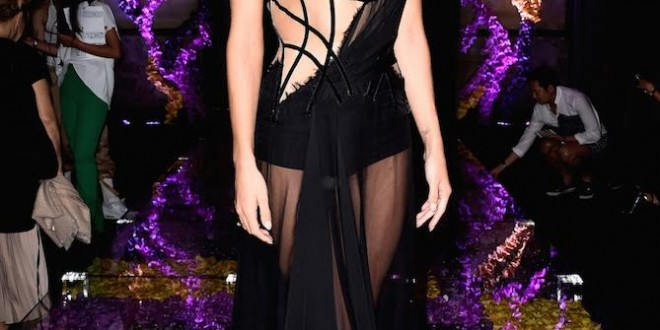 CELEBRITIES AT THE ATELIER VERSACE FALL WINTER 2015 -2016 SHOW