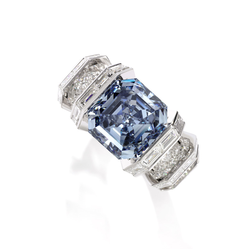 The Sky Blue Diamond Squarecut emerald Fancy Vivid Blue diamond weighing 8.01 carats, set with brilliantcut and baguette diamonds by Cartier. From a Distinguished Private Collection. US$15-25 million sold
