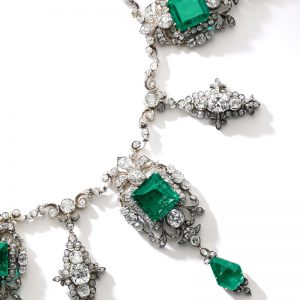 Magnificent emerald and diamond necklace, circa 1880 From the Collection of the Princess Doria Pamphilj. Formerly part of the collection of the princely Roman family Doria-Pamphilj, this magnificent Colombia emerald and diamond necklace boasts impeccable provenance, having remained in the family since its creation. It was made for Lady Emily Augusta Pelham Clinton (1863-1919, who married Alfonso Doria Pamphilj (1851-1914) – heir to the family's fortune – in 1882.